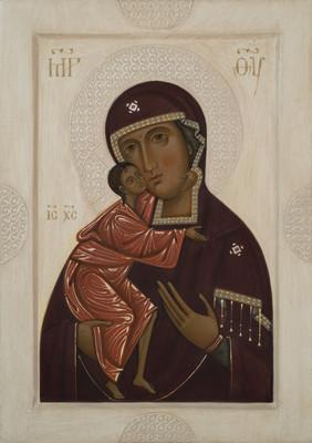 Icon the Mother of God Feodorovskaja by Olga Shalamova