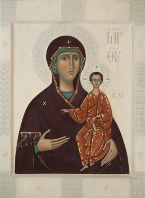 Icon the Mother of God Smolenskaja by Olga Shalamova