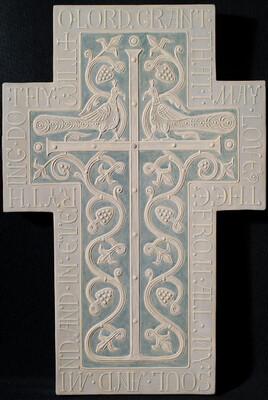 Relief gesso cross by Olga Shalamova