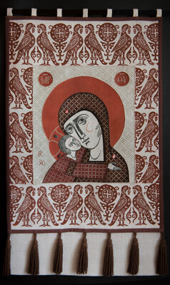 Khorigv (Liturgical Banner) the Mother of God with Christ Child. 2020  by Olga Shalamova Hand-woven fabric, pochoir, stencils, fabric paint, stones, threads, 90 x 50 cm (36 x 20 in)  |email|