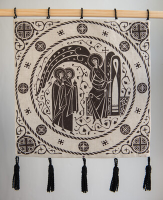 Angel bfore the Myrrh-Bearers. Print on fabric by Olga Shalamova