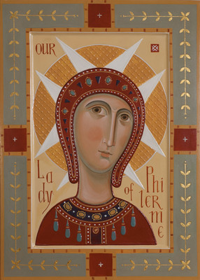 Holy Virgin of Philermo. 2012  by Olga Shalamova 70 x 50 cm ( 28 x 20 in), wood, relief gesso, egg tempera, gilding   |email|