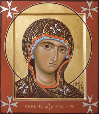 Holy Virgin of Philermo (Philermos, Filermo). 2008  by Philip Davydov 44 x 36 cm ( 17 x 14 in), wood, gesso,  egg tempera, gilding   |email|