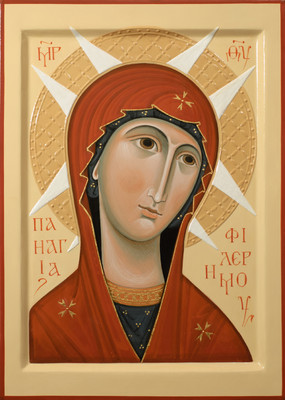 Holy Virgin of Filermo. 2013  by Olga Shalamova 32 x 23 cm (13 X 9.5 in), wood, relief gesso Part of a Deisis set of 4 icons   |email|