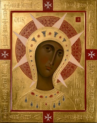 Our Lady of Filermo (Philermo). 2015  by Olga Shalamova 70 x 50 cm ( 28 x 20 in), relief gesso gilded with 23k gold leaf   |email|