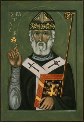 st Patrick. 2017  by Philip Davydov 70 x 50 cm ( 28 x 20 in), wood, gesso, egg tempera, gilding  |email|