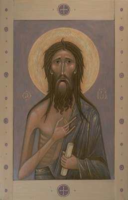 Icon of Saint John the Baptist. 2016  by Olga Shalamova. 33 x 21 cm (13 x 8 in - central part), wood, gesso, egg tempera, frame  |email|