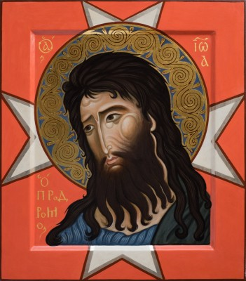 Sain John the Baptist. 2016  by Philip Davydov   Painted as second icon of dyptiche with icon Our Lady of Filermo).  44 x 33 cm (18 x 13 in), wood, gesso, egg tempera, gilding  |email|