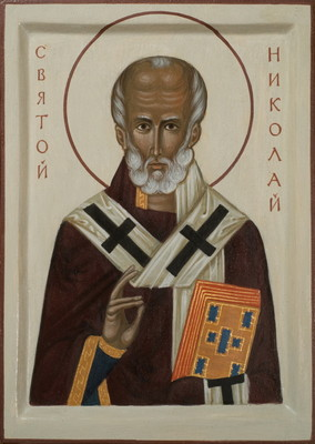 St Nicholas. 2015  by Philip Davydov  33 x 22 cm (13 x 9.5 in), wood, gesso, egg tempera, gilding  |email|