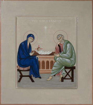 The Holy Family. 2014  by Philip Davydov  44 x 28 cm (17 x 11 in), wood, gesso, egg tempera  |email|