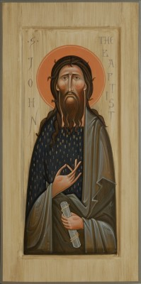Icon of Saint John the Baptist. 2014  by Olga Shalamova 50 x 32 cm (20 x 13 in), wood, gesso, egg tempera   |email|