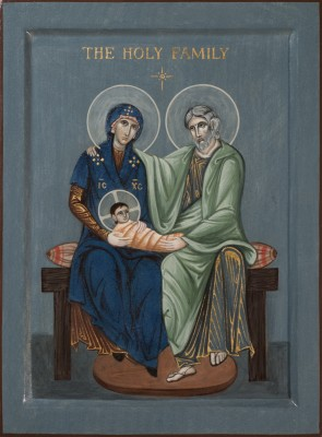 The Holy Family. 2014  by Philip Davydov Wood, gesso, relief gesso, egg tempera, gilding  |email|