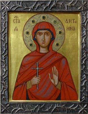 Holy Martyr Antonina. 2009  by Philip Davydov    wood, gesso, egg tempera, gilding The halo is decorated with emeralds, the borders are covered with a silver risa,  made individually for this icon by Oleg Tihomirov|email|