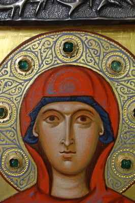 Holy Martyr Antonina. Detail. 2009  by Philip Davydov   wood, gesso, egg tempera |email|