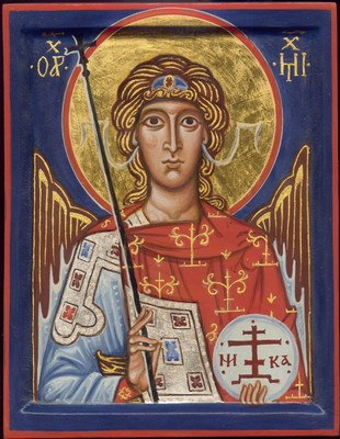 Saint Archangel Michael. 2003  by Philip Davydov   wood, gesso, egg tempera, gilding |email|