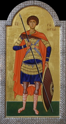 St George the Warrior. 2009  by Philip Davydov   wood, gesso, egg tempera, gilding, silver riza |email|