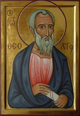 St John the Theologian. 2010  by Philip Davydov   wood, gesso, egg tempera, gilding,  |email|