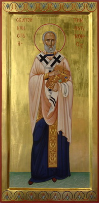 St Constantine, Patriarch of Constantinople.2011  by Philip Davydov wood, gesso, egg tempera, gilding |email|