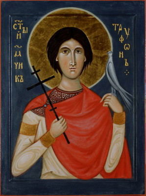 St Tryphon. 2013  by Philip Davydov   wood, gesso, egg tempera, gilding |email|