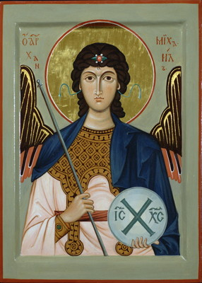 Archangel Michael.  2011  by Philip Davydov wood, gesso, egg tempera, gilding |email|