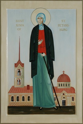 St Xenia of Saint Petersburg. 2013  by Philip Davydov wood, gesso, egg tempera, gilding |email|