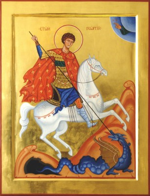 St George the Warrior. 2008  by Olga Shalamova wood, gesso, egg tempera, gilding |email|