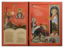 Icon of Moses seeing The Mother of God-The-Burning-Bush and icon of Melchisedec Meeting Abraham 2012-2013