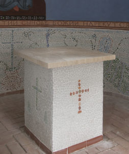 Tumbled Glass Mosaic Altar Table in Saint Leonid Church