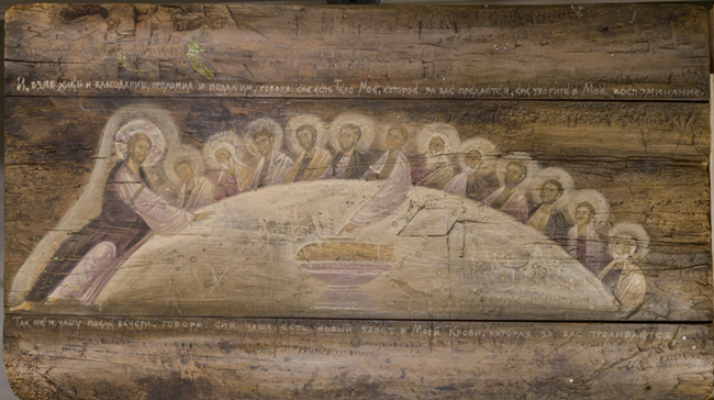 The Last Supper by Olga Shalamova. Egg tempera on wood.