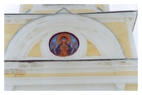 Fresco mural painting over the main church entrance.
