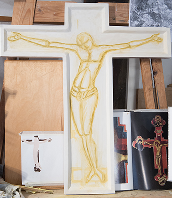 Drawing the figure of Christ at Icon painting workshop