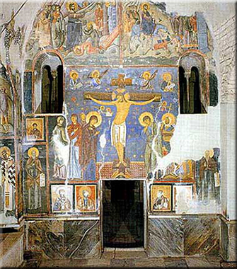 Crucifixion, fresco from Church of the Holy Virgin, Monastery of Studenica, 1208