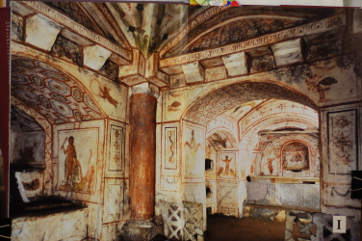 Catacomb in Villa Latina. Mural paintings
