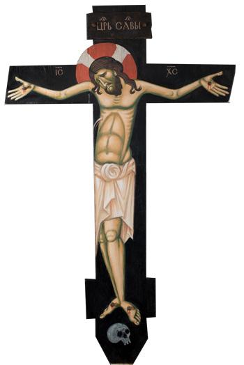 Portable encaustic icon of Crucifixion by Philip Davydov